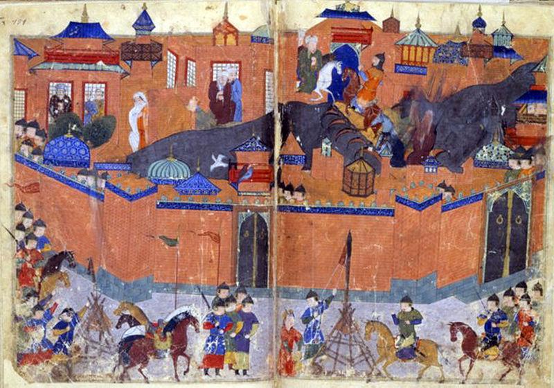 Mongoli opsedaju Bagdad   Po predanju kada su Mongoli osvojili Bagdad bacili su toliko knjiga iz Kuće mudrosti u reku Tigar da je ona bila crna od mastila  Izvor: https://commons.wikimedia.org/wiki/File:Bagdad1258.jpg  Credits: Autor Sayf al-wāhidy et. al., Bibliothèque nationale de France, Département des Manuscrits, Division orientale, Supplément persan 1113, fol. 180v-181
