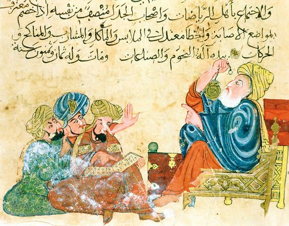 Aristotel sa učenicima  Izvor: al-Mubashir. Kitāb Mukhtaral-Ḥikam wa-Maḥāsinal-Kalim.  XIII century A.D. Istanbul, Topkapi Palace Museum MS Ahmed III 3206, ff. n/a
